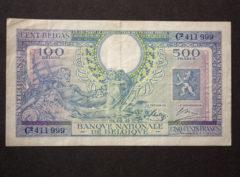 Billet 500 Francs/100 Belgas Belgique
