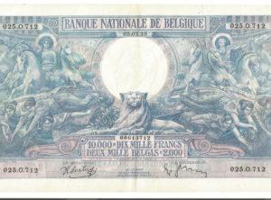 10.000 Francs / 2000 Belgas 1938