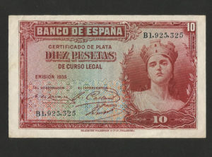10 Pesetas – Banco de Espana 1935 SUP