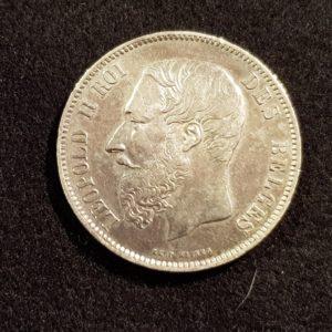 Pièces - Monnaie - Argent - Belgique - 5 Francs 1868