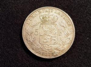 Pièces - Monnaie - Argent - Belgique - 5 Francs 1871