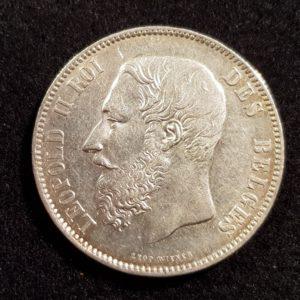 Pièces - Monnaie - Argent - Belgique - 5 Francs 1875