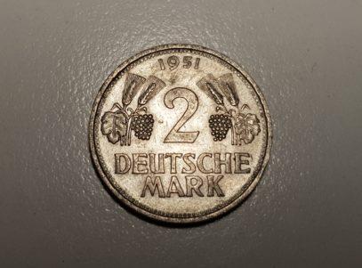 Allemange - 2 Deutsche Mark - 1951 - Nickel