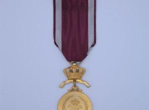 Décoration Belgique - Ordre de la Couronne - Médaille - Or - Bilingue