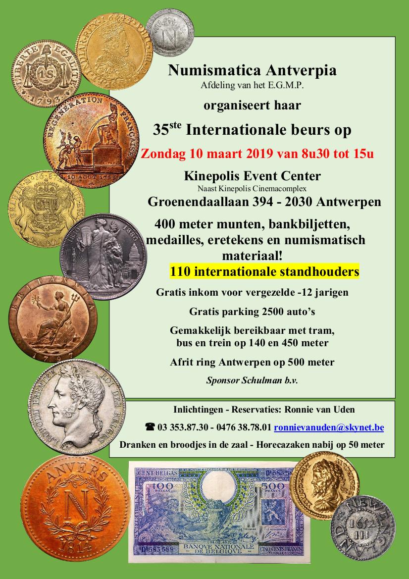 35ème Foire Internationale d'Anvers - 2019 - Antwerpen Beurse Numismtatique