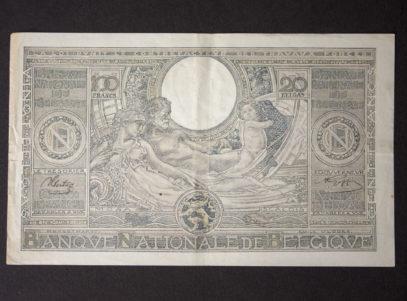 Billet 100 Francs ou 20 Belgas Belgique Verso