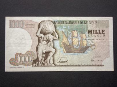 Billet 1000 Francs Type Mercator Belgique Verso