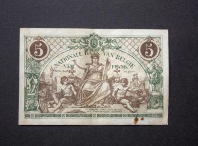 Billet 5 Francs Belgique Verso