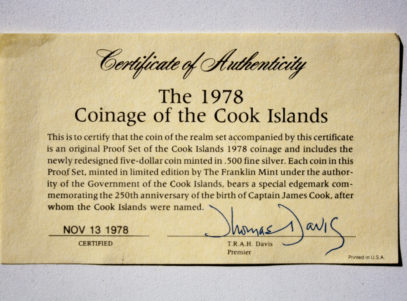 Coinage of the Cook Islands 1978 Certificate