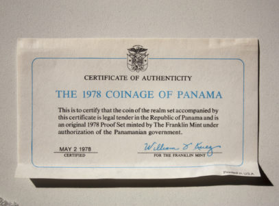 Coinage of Panama 1978 Silver proof Certificate