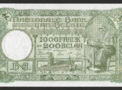 1000 Francs / 200 Belgas – 30.07.42 FDC/NEUF