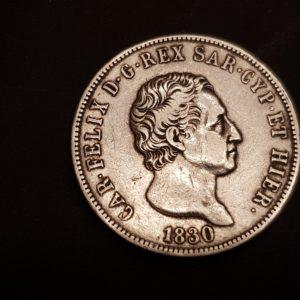 Italie - 5 Lire - 1830 - Carl Felice