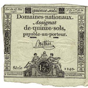 Assignat de quinze sols - France