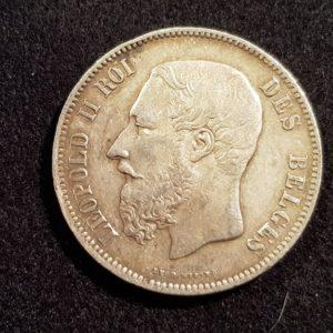 Pièces - Monnaie - Argent - Belgique - 5 Francs 1869
