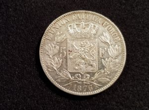 Pièces - Monnaie - Argent - Belgique - 5 Francs 1876