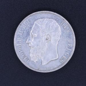 Pièce de Monnaie - Belgique - 5 Francs - Léopold II - 1875