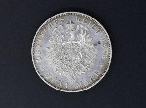 Allemagne – Sachsen – 1876 – 5 Mark E – Albert
